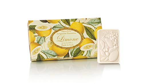 Box of Florentine lemon soap, pack of 3 rectangular handmade soaps, 3 x 125 g