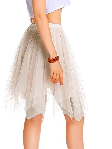 AMORETU Damen Knielange Asymmetrischer Gummibund Ausgestellter Zipfel Tüll Rock, Z-aprikose, S/M=DE 34-46