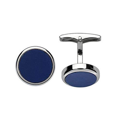 LINDENMANN Manschettenknöpfe, silberfarben, Acryl Einlage in blau, rund, Geschenketui, 10758