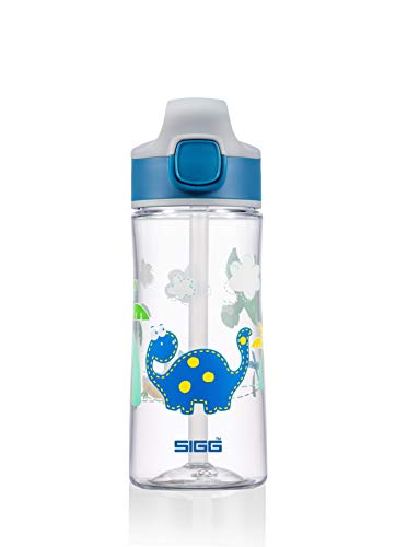 SIGG Miracle Dinosaur Friend Cantimplora infantil (0.45 L), botella para niños con tapa hermética, botella de agua de tritán para usar con una mano