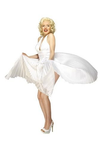 Marilyn Monroe Nackenträger-Kleid Weiß, One Size