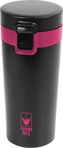 Thermo Rex Peak thermosbeker - 330 ml - zwart/rood - met deksel - vrijwel onbreekbaar en herbruikbaar - geschikt voor hete en koude dranken - koffiebeker - to go - roestvrij staal