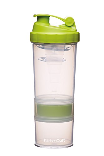Kitchen Craft Proteïne-shaker 575ml, plastic, transparant/groen, 18 x 18 x 8 cm