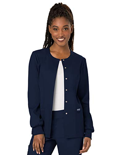 Cherokee Women's Snap Front Warm-up Jacket, Navy, Small