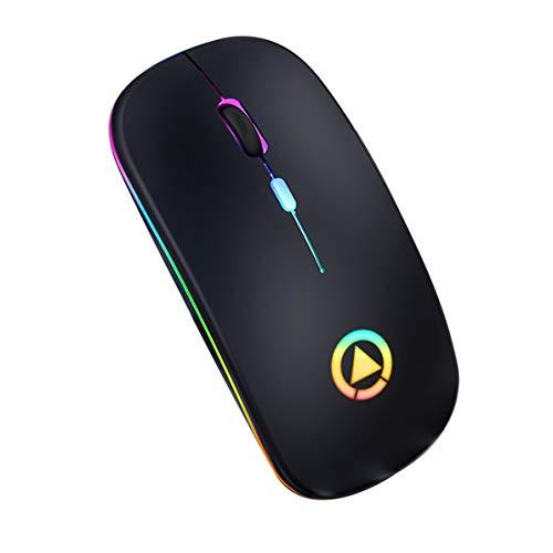 OocciShopp Ratón inalámbrico Ultrafino, 2,4 GHz Ratón de Ordenador Práctico ratón inalámbrico Silent Mute Ratones ópticos USB ultrafinos adecuados para Ordenador portátil (Negro Mate)