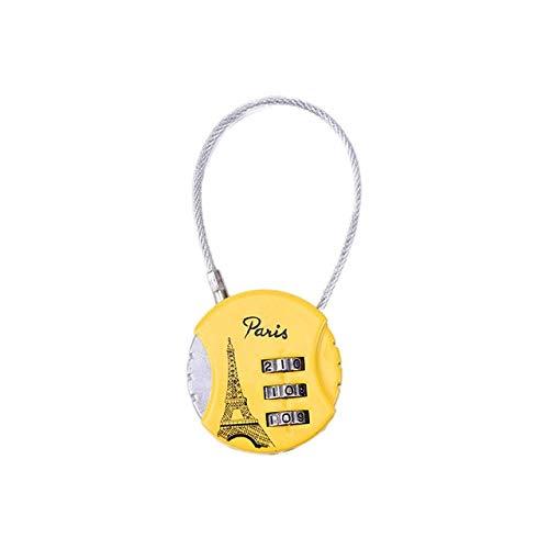 Z.L.F.J.P Accesorios para Bicicletas 3 dígitos Contraseña TSA Alambre de Acero de Bloqueo de Aduanas código de Bloqueo de Maleta del Recorrido del Equipaje (Color : Amarillo, Size : Gratis)