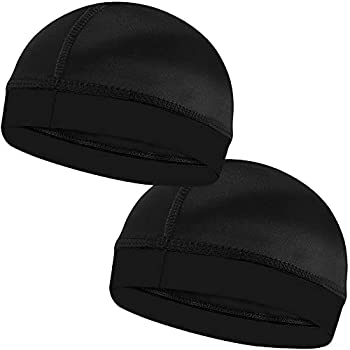 2PCS Silky Stocking Wave Caps for Men Doo Rags Compression Cap for 360 540 720 Waves  Black