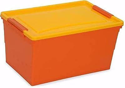 Nilkamal Stackable Storage Box with Wheels, 50 L, (Orange and Yellow), Rectangular