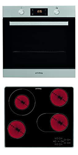 Privileg BAKO Turn&Cook 200 Einbau-Backofen mit Glaskeramik-Kochfeld/ 71 L/Hydrolyse-Reinigungsfunktion / Multifunktions_Umluftbackofen mit 7 Funktionen/Turn&Go/Touch-Control-Steuerung, silver