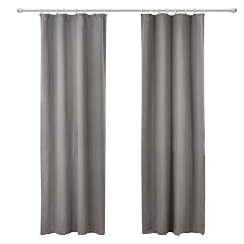 WOLTU #489-2, 2er Set Gardinen Vorhang Blickdicht mit kräuselband für schiene, leichte & weiche Verdunklungsvorhänge für Wohnzimmer Schlafzimmer Tür, 135x245 cm, Gau