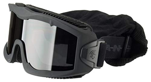 Lancer Tactical AERO 3mm Thick Dual Pane Lens Eye Protection Safety Goggle System ANSI Z87 1 Rated Industry Standard Panel Ventilated w/Anti-Scratch Shield Fully Adjustable (Black / 3 Lens)