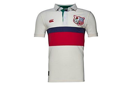 British & Irish Lions 1888 Panel Pique Rugby Polo Shirt - Vintage White - Size S
