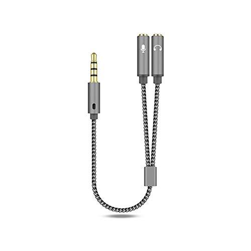 COSEAN Adaptador Jack Micro y Auriculares, 3,5 mm 1 Macho a 2 Hembra Micrófono Y Divisor Cable AUX, para Computadoras Portátiles, Tabletas, Teléfonos Inteligentes, Macbooks, B