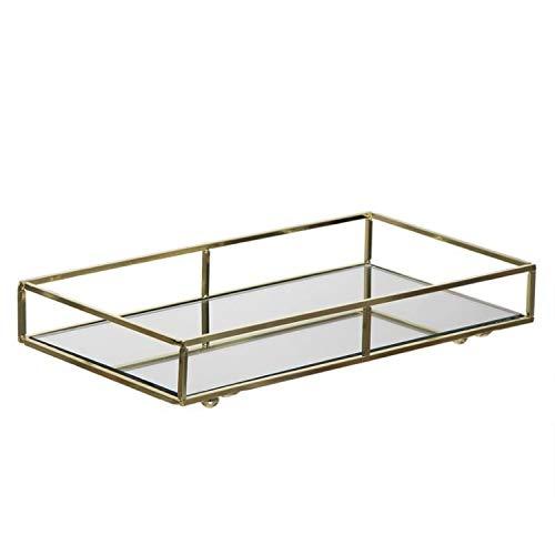 Vidal Regalos Bandeja Espejo de Metal y Cristal Dorada 31 cm
