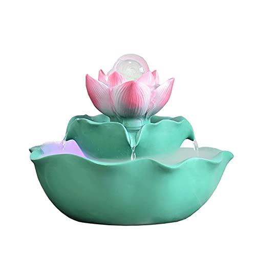 WBDZ Fontaines d'intérieur, Fontaine de Table de Lotus Fontaine de Bureau d'étang de Poissons Fontaine d'intérieur, Fontaine d'eau de Feng Shui de Statue de Table pour Le Bureau à Domicile