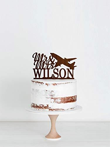 DKISEE taart topper vliegtuig bruiloft topper, de heer & mevrouw taart topper voor bruiloft, bruiloft taart topper met vliegtuig, aangepaste bruiloft taart topper, achternaam taart topper, meerdere kleuren beschikbaar Paper