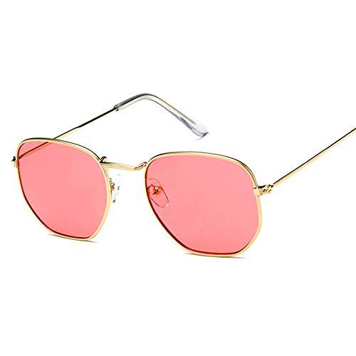 YHKF Gafas De Sol Cuadradas De Moda Gafas De Sol De Diseñador para Mujer Gafas con Montura De Metal Vintage para Hombre Uv400-Rojo