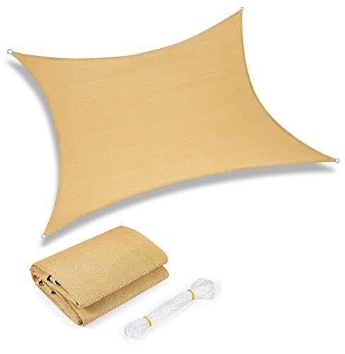 Yidaxing Tenda da Sole Rettangolare a Vela da 2 x 3 Metri, Tenda da Sole Impermeabile con Protezione dai Raggi UV per Patio, Giardino, Esterno, Colore Sabbia