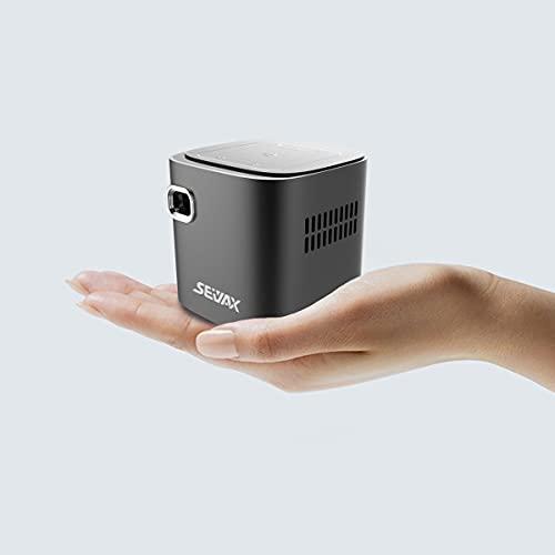 SeiyaX mini proyector LED DLP con batería y panel táctil, pantalla compartida con sistema operativo Android 2GB + 64GB WiFi 2.4G / 5G Bluetooth HDMI, USB, IR portátil para actividades al aire libre