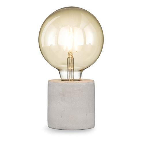 loxomo - Beton-Tischleuchte rund, Ø 9 x 9 cm, Betonoptik Tischlampe E27, Hue- und LED-Leuchtmittel kompatibel bis max.60W, Beton Grau, ohne Leuchtmittel
