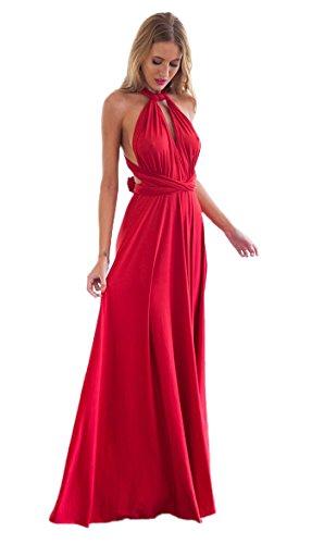 Minetom Donne Elegante Collo V Senza Maniche Halterneck Lunga Vestito Multi-usura Trasversale Maxi Abito Matrimonio Banchetto Sera Rosso IT 40