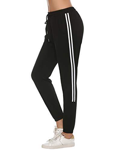 Aibrou Damen Strick Baumwolle Streifen Sporthose Sweathose mit Bündchen Traininghose Jogging Hose Slim Fit Schwarz m