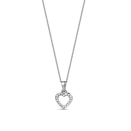 Miore Kette - Halskette Damen Kette mit Herz  Weißgold 9 Karat / 375 Gold  Diamant Brillianten 0.05 ct 45 cm