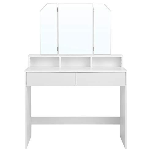 VASAGLE Tocador con espejo plegable, mesa de maquillaje, con 2 cajones y 3 compartimentos de almacenamiento, estilo moderno, blanco RDT115W01