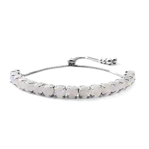 Adjustable 5.5 Ctw Moonstone Gemstone 925 Sterling Silver Platinum Plated Bridal Bracelet