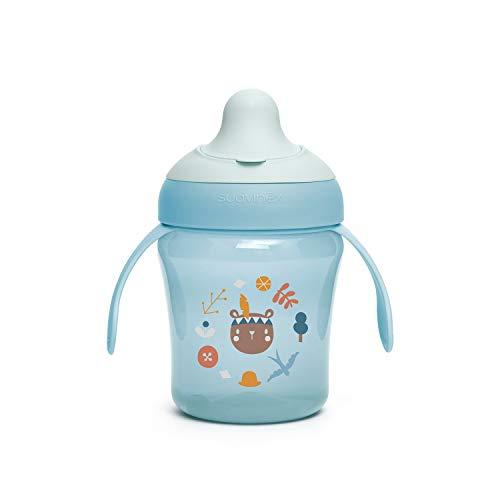 Suavinex Vaso Entrenamiento Bebé, Con Boquilla Rígida y Asas, Para Bebés +6 Meses, Apto Para Lavavajillas, Color Azul, 200ml