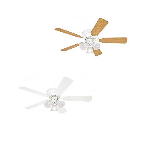 Pepeo Deckenventilator mit Licht Kisa, extra Flach, Gehäuse Lack weiß, Flügel weiß oder Ahorn, 105cm