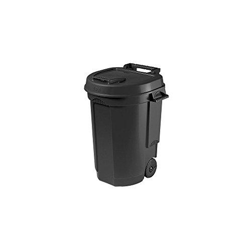 Abfallbehälter 110L schwarz fahrbar Mülltonne Garten Abfalltonne