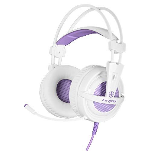 SUPSOO White Purple Gaming Headset for Xbox One, PS4, 3.5mm Over Ear Headphones with Microphone, Soft Earmuffs Bass Surround Compatible with PC Laptop Nintendo Switch Games - Purple
