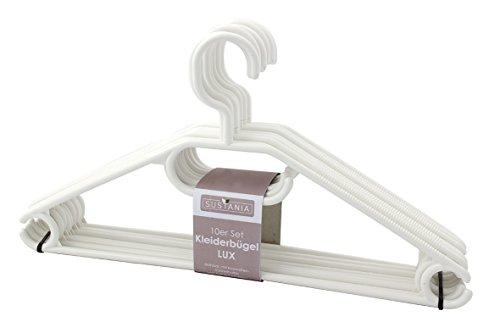 Sustania KleBü - Kleiderbügel 100 Stück in weiß | Wäschebügel aus Kunststoff - Made in Germany