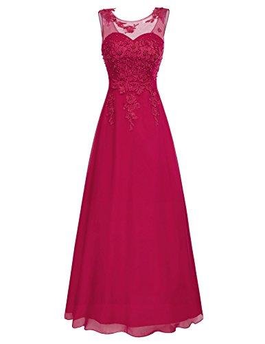 GRACE KARIN Mujer Vestido Rojo Oscuro Elegante Dulce Vestido de Fiesta para Boda Dama de Honor Prom Talla 48