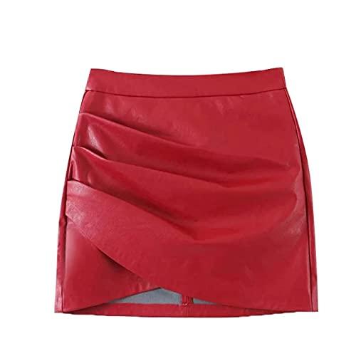 UKKO Falda de Tenis Mujeres Chic Fashion Faux Cuero Plisado Plisado Asimétrico Mini Falda Vintage Cintura Alta Mayor Cremallera Faldas Mujeres Faldas