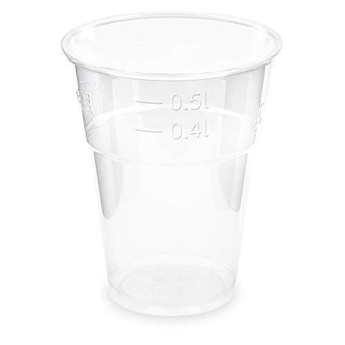 Vasos ecológicos multiusos transparentes para fiestas de 400 ml y 500 ml, de PLA con marca de medición de 102 mm de diámetro, 100 unidades