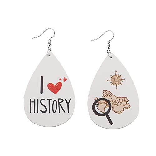 I Heart History Leather Earrings