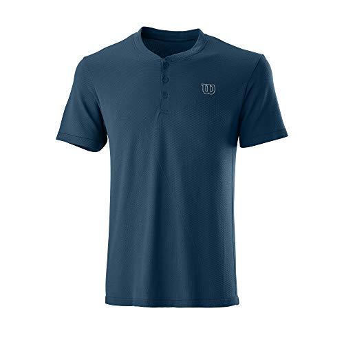 Wilson Herren Kurzarmshirt, PWR SMLS HENLEY II, Polyester/Nylon, Blau (Majolica Blue), Größe XL, WRA789101XL