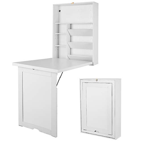 CASART. Wall Mounted Table, Folding Convertible Computer Desk with Storage Shelves, Multifunctional...