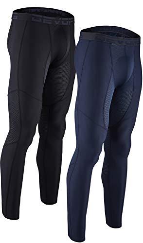 DEVOPS Men's (2 Pack) Compression Cool Dry Tights Baselayer Running Active Leggings Pants Medium (Mesh) Black/Navy