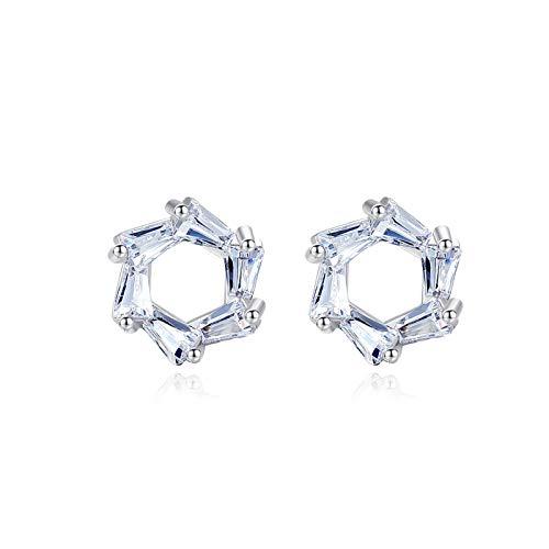 Yuansr Pendientes de Plata esterlina 925, Pendientes geométricos Simples, Pendientes de Plata esterlina para Mujer, aretes de Damas Personalizadas