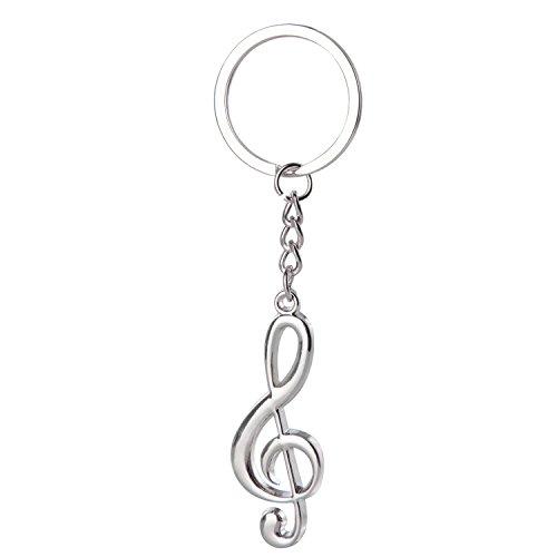 Seguryy Portachiavi a forma di chiave di violino, colore argento