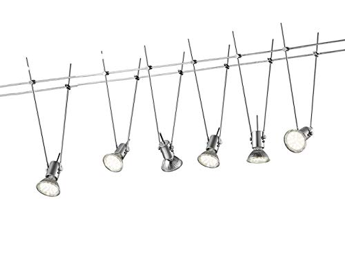 Trio Leuchten LED Komplettset - Seilsystem bis 5 Meter Länge mit 6 schwenkbaren Lichtspots, Deckenlampe titanfarben, Deckenstrahler