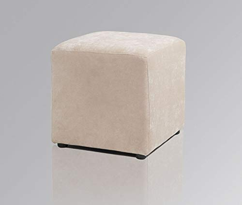 Amaris Elements | Sofa Hocker 'Joe' eckig Würfel Samt 45x45xH45cm Pouf beige Creme
