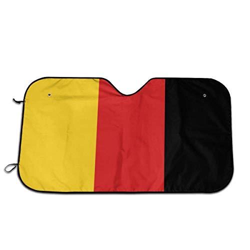 De vlag van Duitsland auto voorraam zonnescherm voorruit zonnescherm venster voorruit cover universele pasvorm auto UV Ray zon en warmte vizier bescherming (27.5 X 51 Inch)