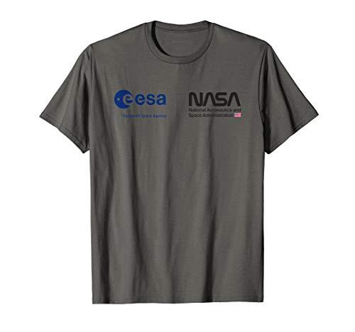 ESA NASA Shirt, EU USA Weltraum Kooperation Brust Logo T-Shirt