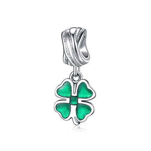 EvesCity Bolenvi - Abalorio de trébol de cuatro hojas de plata de ley 925 con diseño de trébol de cuatro hojas para pulseras y collares