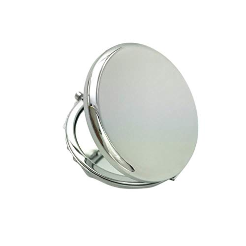 LASISZ 6,5 cm Portable Solid Color Metal Round Case Double-Side Pop-Up Pocket Makeup Mirror, Silver