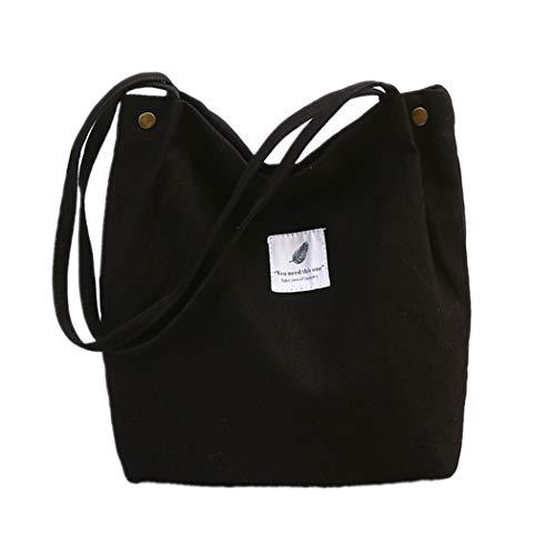 oukesin Borsa a tracolla in tela da donna borsa a tracolla grande capacità turismo scolastico casual, nero